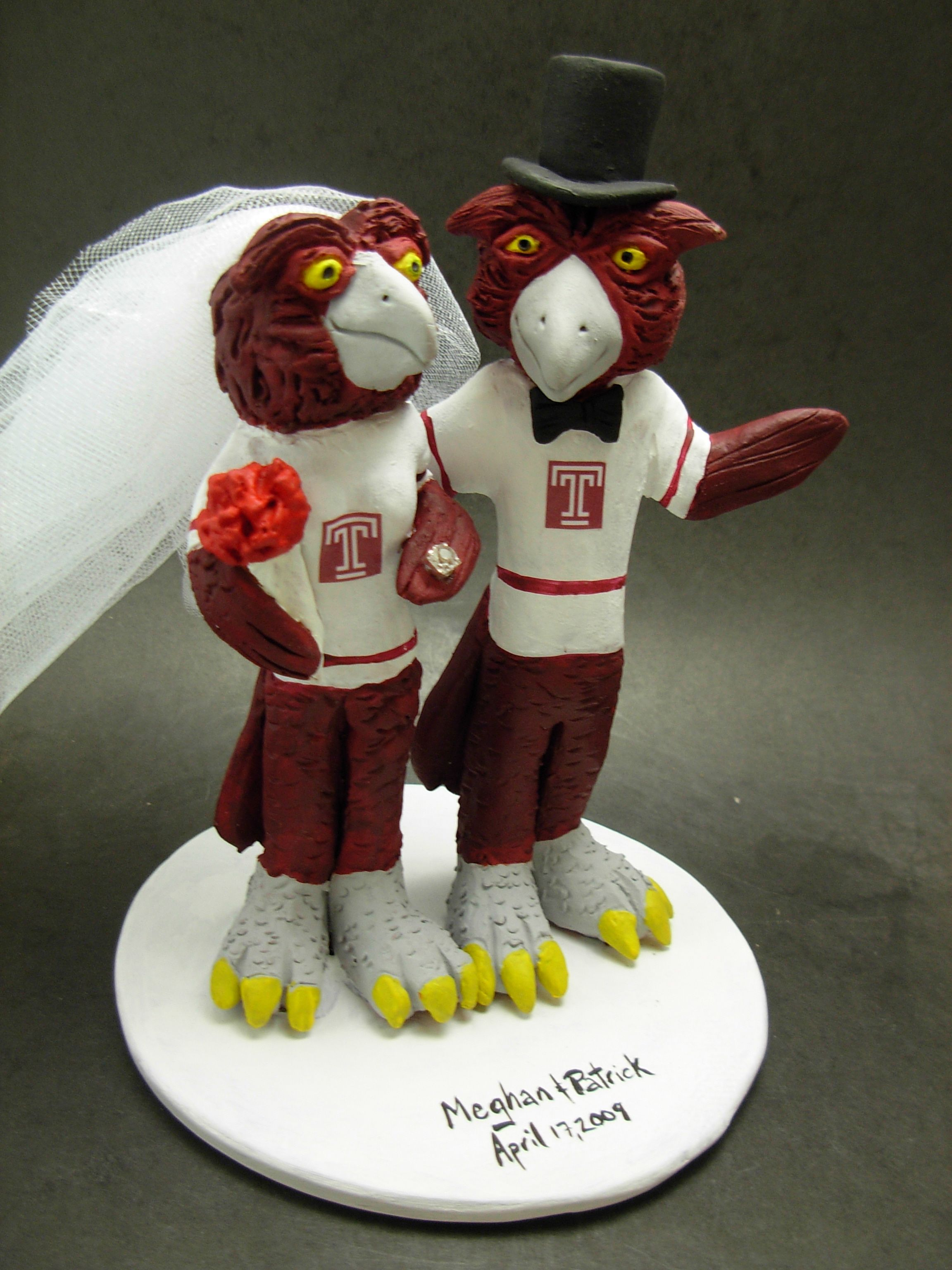 Custom made to order college mascot wedding cake toppers, individually hand sculpted of kiln fired clay. Incorporate your team jersey, sport, favourite items, whatever is important to the bride and groom. $235  www.magicmud.com 1 800 231 9814 magicmud@magicmud... blog.magicmud.com twitter.com/... $235 #mascot #collegemascot #hokie #ms.wuf #gators #virginiatech #football mascot #wedding #cake #toppers #custom #personalized #Groom #bride #anniversary #birthday #weddingcaketoppers #caketoppers…
