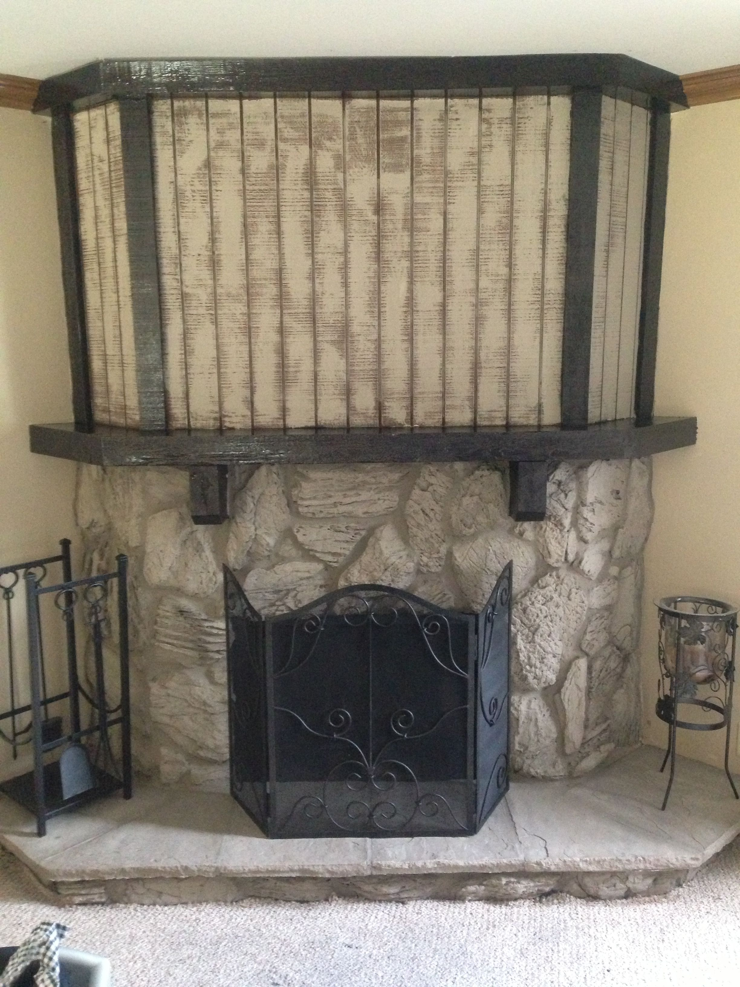 used chalk paint to update our fireplace from dark brown 80 u0027s rock