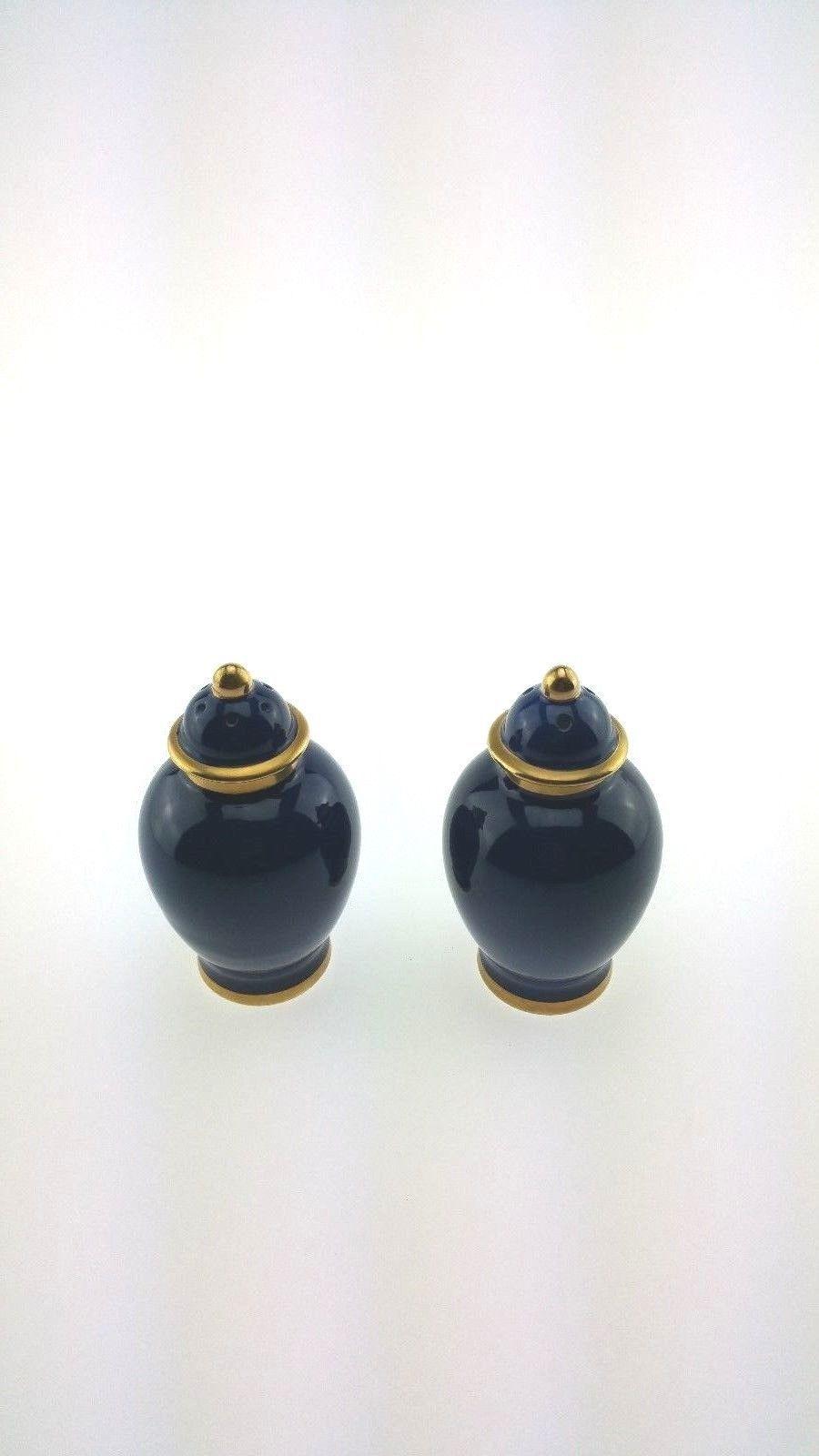 Fitz Floyd Renaissance Lapis Blue Salt Pepper Shaker Set | eBay