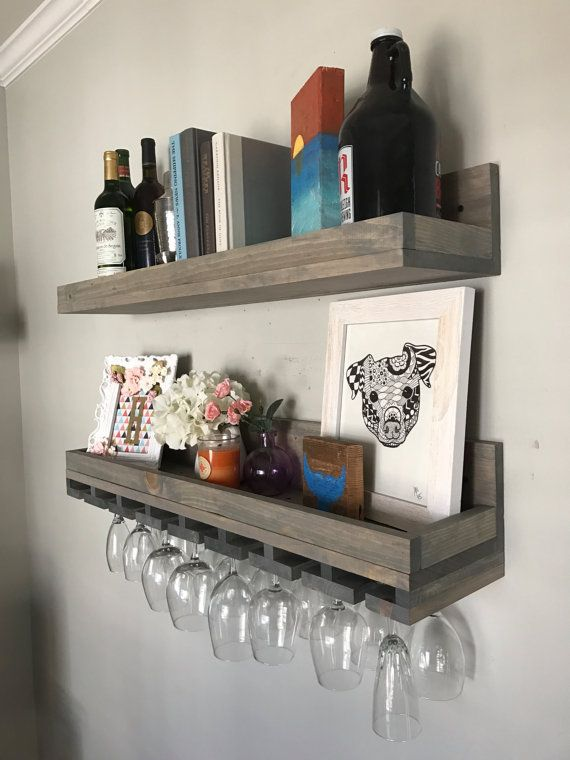 Wood Wine Rack Shelves Wall Mounted Shelf Hanging Stemware Glass Holder Organizer Bar Shelf Floating Ledge Unique Rustic Bar Shelving Wood Wine Racks Wine Rack Design Wine Rack Wall