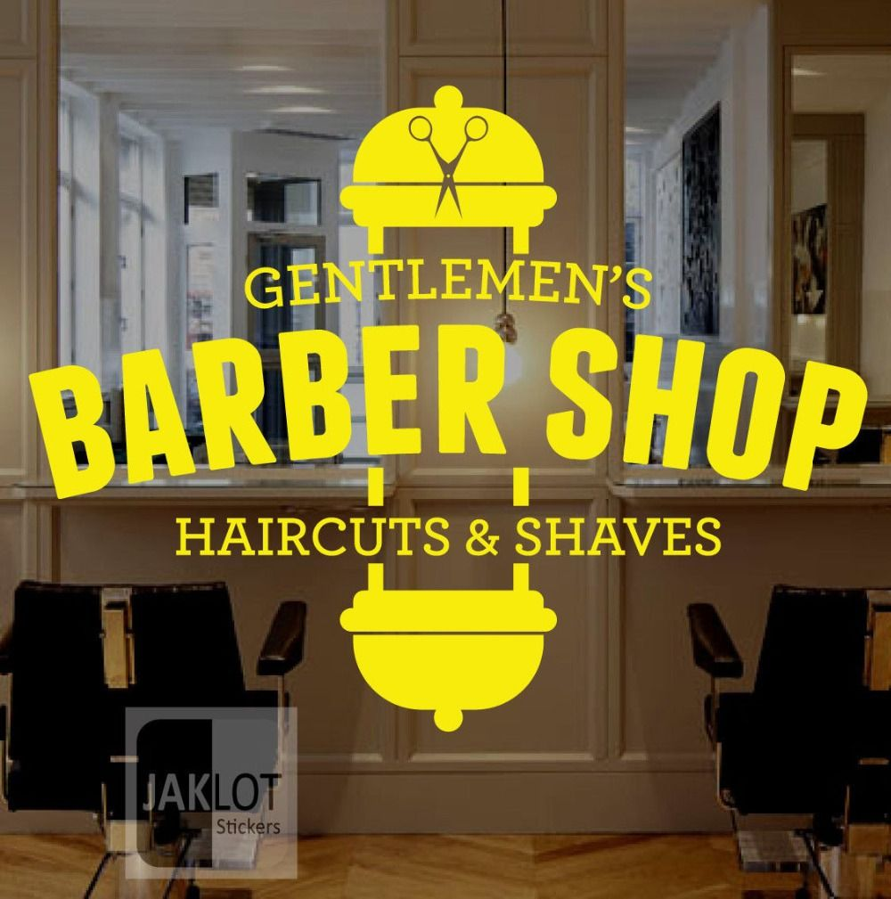 Men Salon Sticker Shave Decal Haircut Barber Shop Posters Vinyl Wall ...