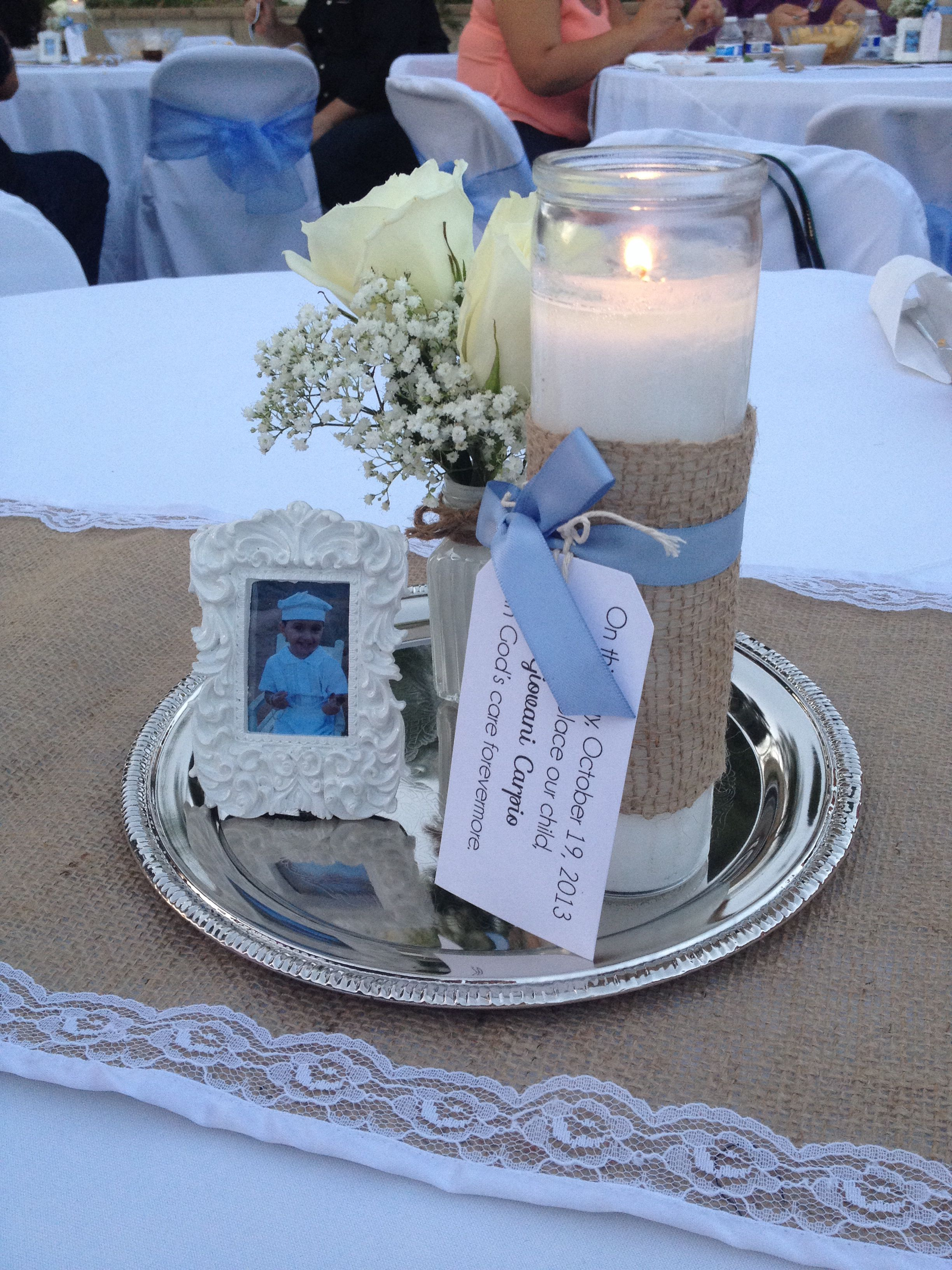 Baptism centerpieces bautismo shabby chic