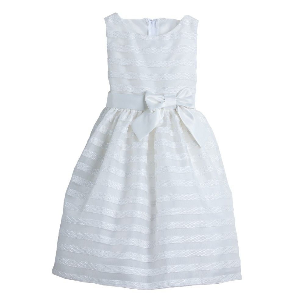 Sweet Kids White Striped Organza Bow Sash Flower Girl Dress 2t 3t Girls White Dress Dresses Girls Pageant Dresses [ 1001 x 1001 Pixel ]