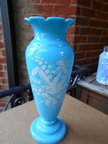 Antique Bristol Blue Milk Glass Victorian Birds Flowers Vase