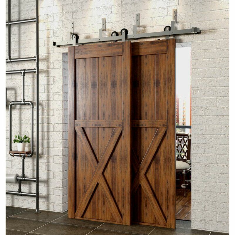 Double Track Z Bypass Barn Door Hardware Kit In 2020 Bypass Barn Door Hardware Bypass Barn Door Barn Door Hardware