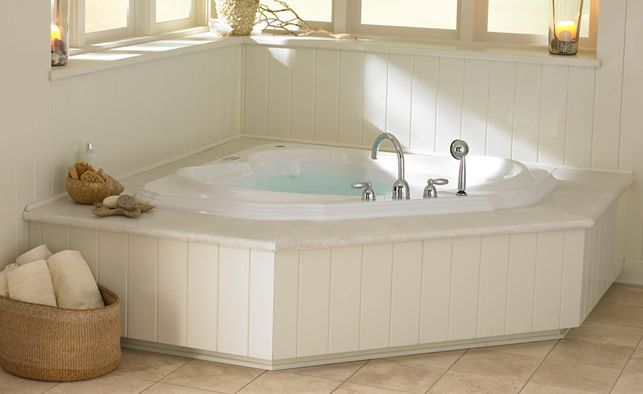 Need to fit a tub in a corner space? Try the Bellavista Corner Bath by Jacuzzi
