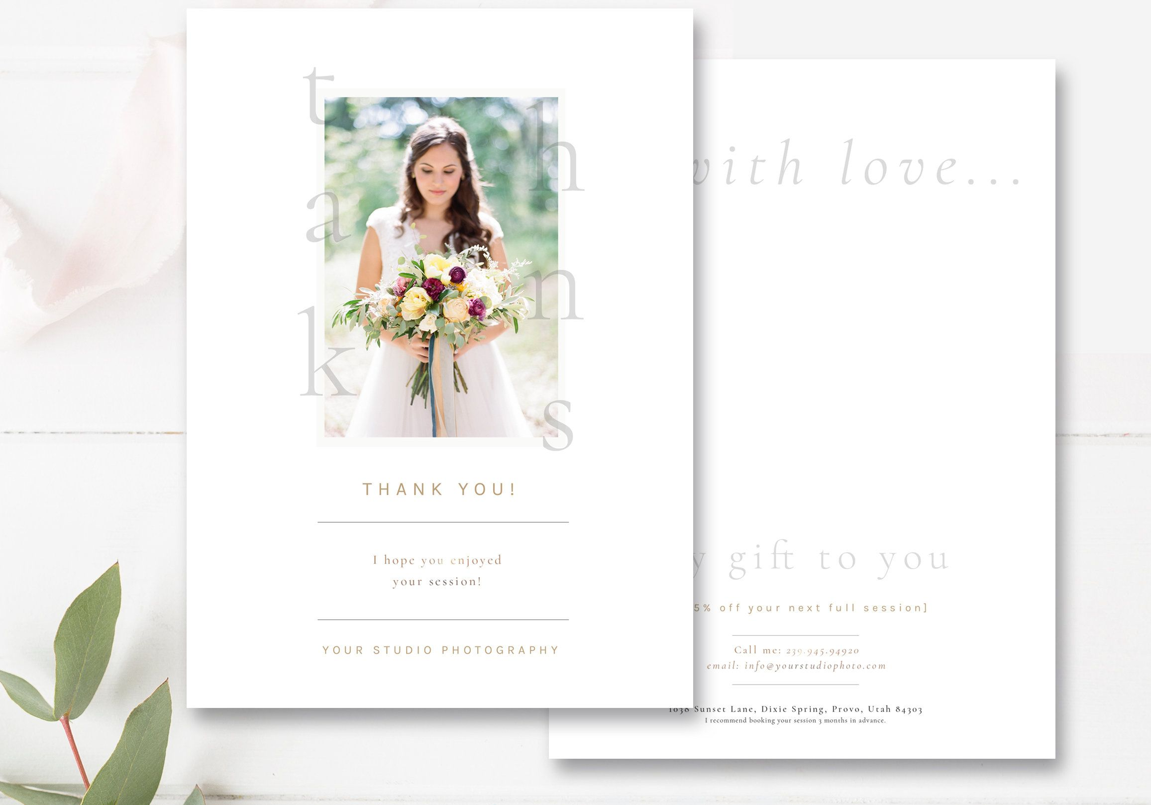 Thank You Card Template For Photographers Photography Thank Etsy Photo Card Template Thank You Card Template Photoshop Template Design