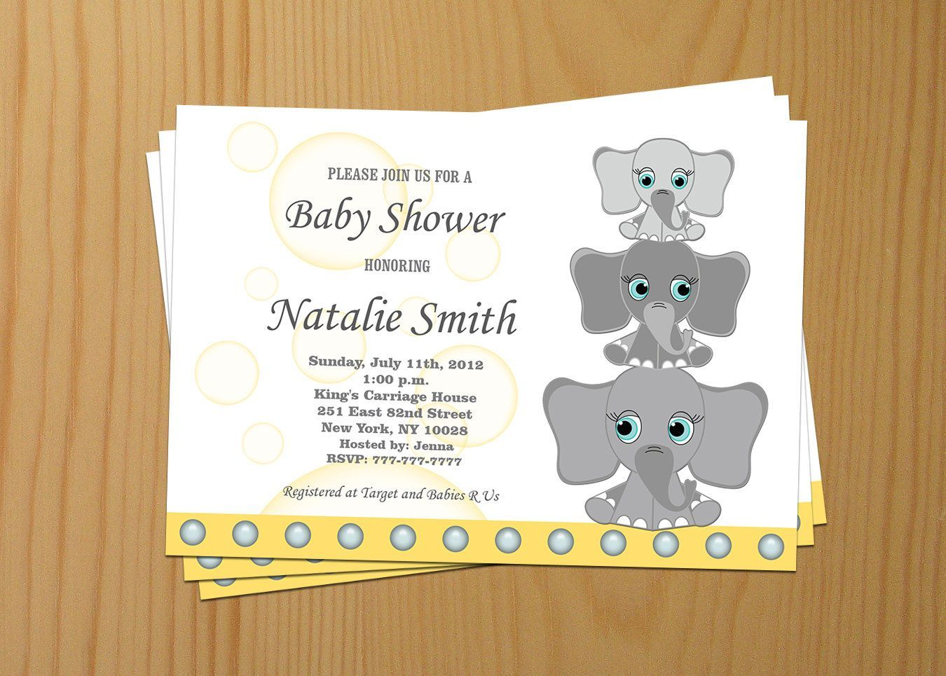 Boy Baby Shower Invitations for Boys Printable Elephant Baby Shower ...