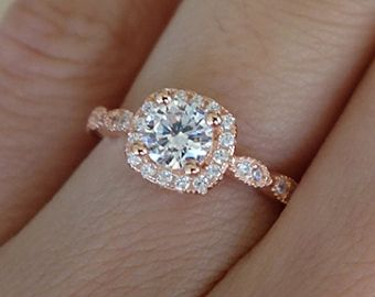 3 4 Carat Halo Vintage Inspired Engagement Ring Man Made Diamonds Art Deco Wedding Bridal Promise Sterling Silver Rose Gold