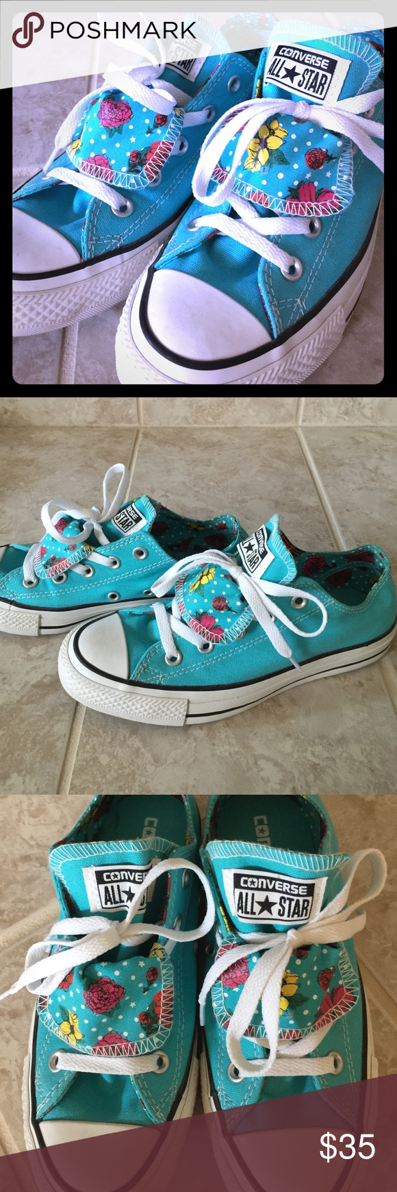 Converse All Star Double Tongue Gorgeous blue with flowers and double tongue! Brand new without box (my husband tossed it!). I wore these to try on, and then didn't wear again - I prefer the stretch heel ones :)  don't miss out on this adorable pattern!! Converse Shoes