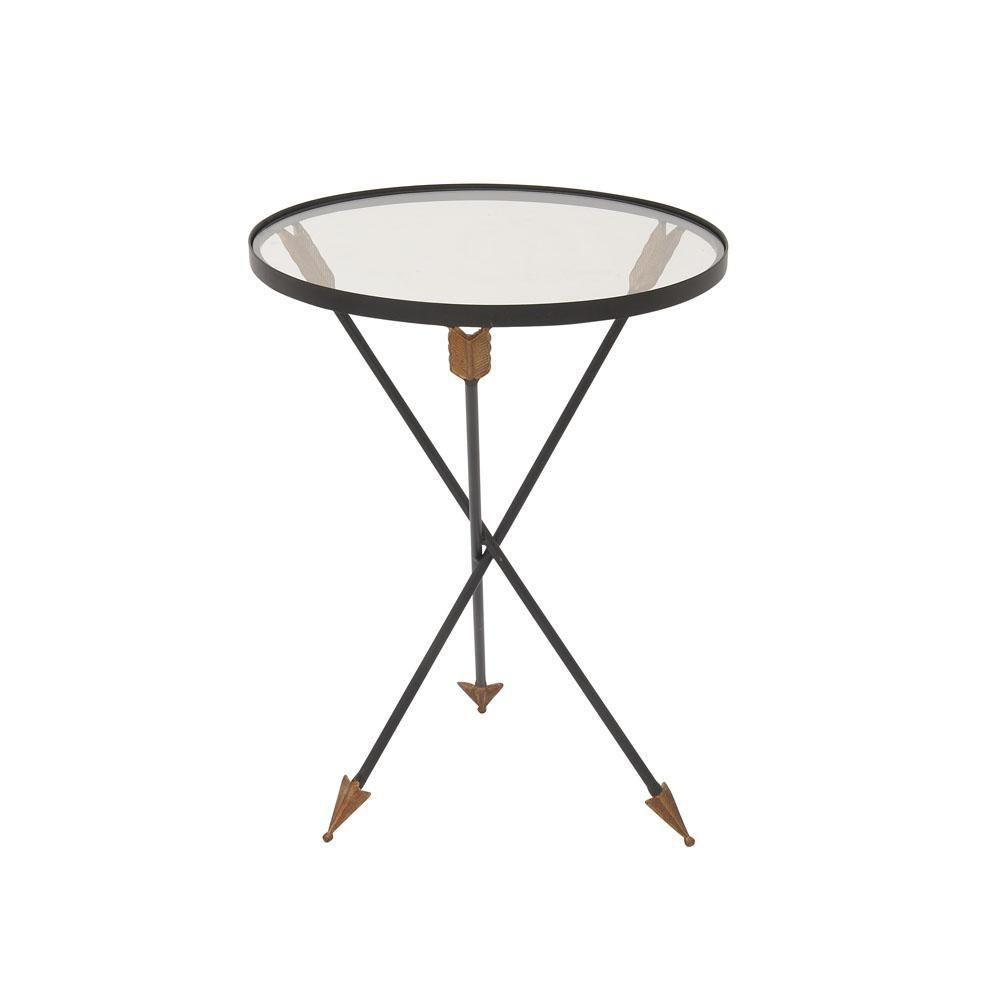 Black Arrow Legged Accent Table With Clear Gl Top 91932