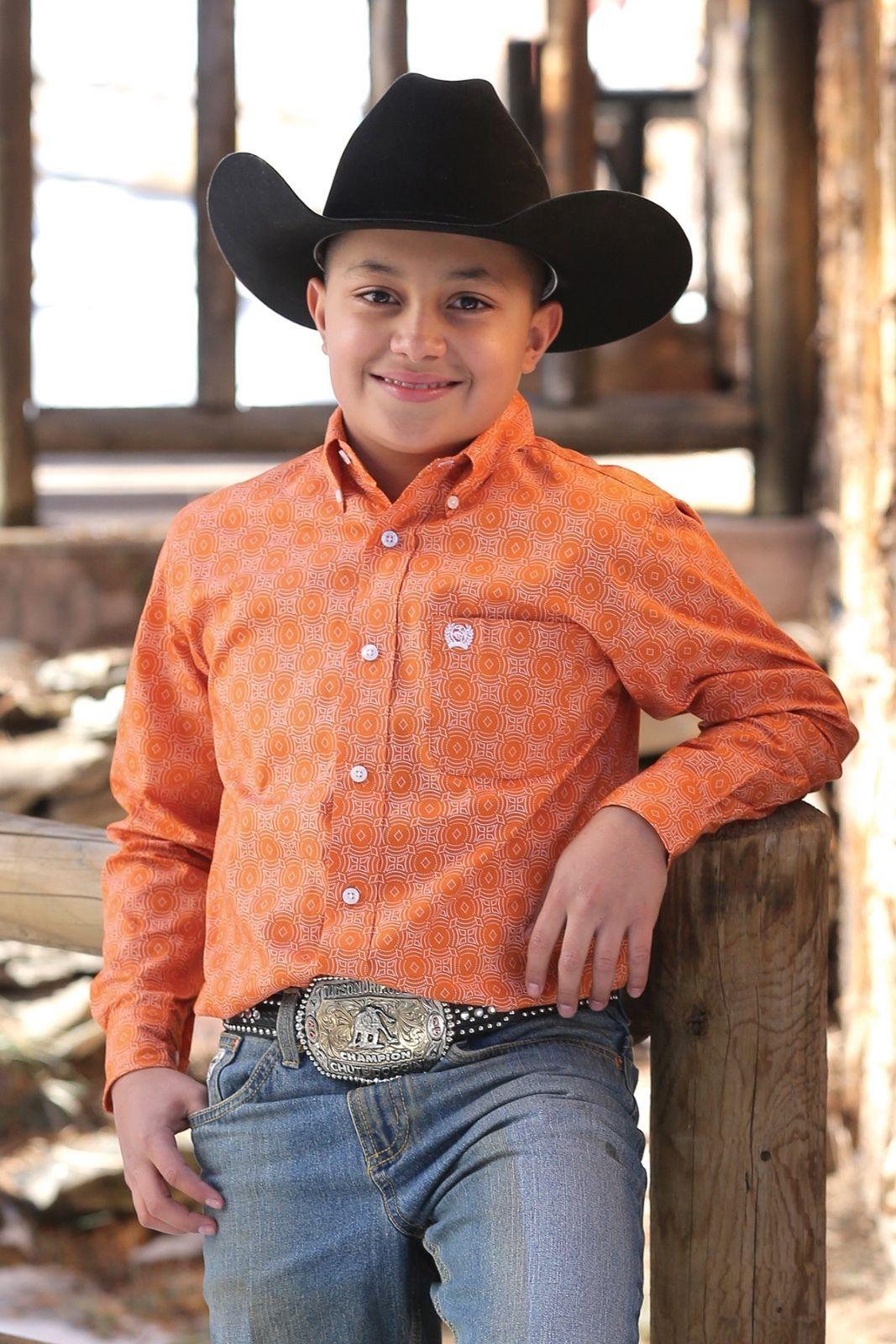 193fac36e Tops Shirts and T-Shirts 175521: Cinch Boy'S Orange Sunburst Printed Long  Sleeve Western Shirt Mtw7060144 -> BUY IT NOW ONLY: $36.95 on eBay!