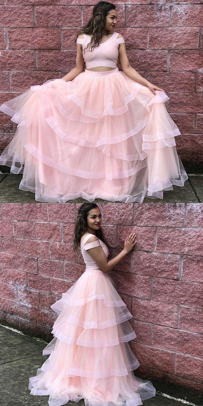 Princess two piece pink long prom dresstulle evening dresses bd
