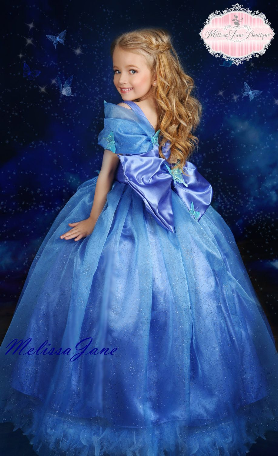 0bd6ec4dc7b Inspired Cinderella Blue Movie Princess Dress - with a touch of Feathers