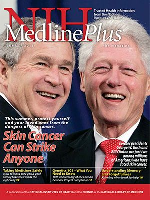 NIH MedlinePlus, the Magazine:  Its purpose is to present the best reliable, up-to-date health information & to bring you the latest breakthroughs from NIH-supported research. Subscriptions are available free of charge. Read the latest NIH MedlinePlus the Magazine Summer 2013 Issue.