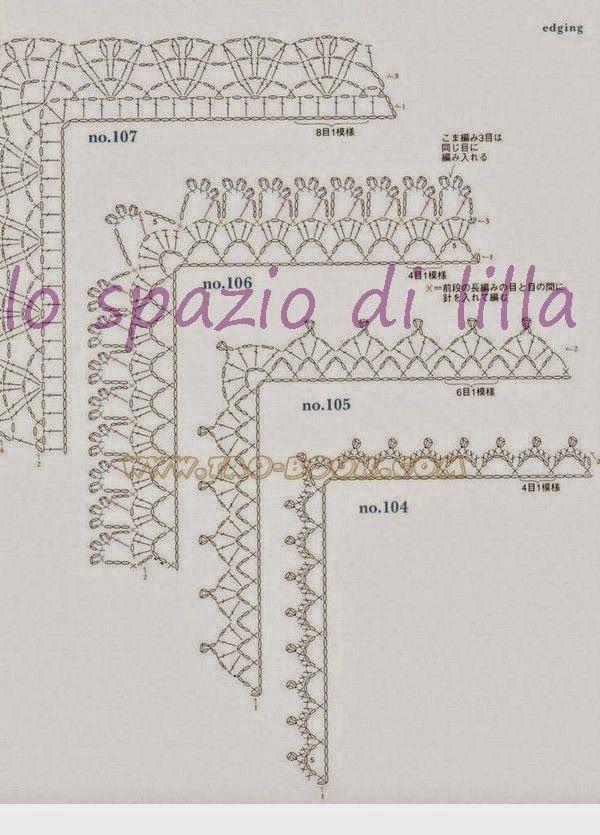 Schemi di bordi crochet con angoli utili per copertine e for Pizzi uncinetto per tovaglie