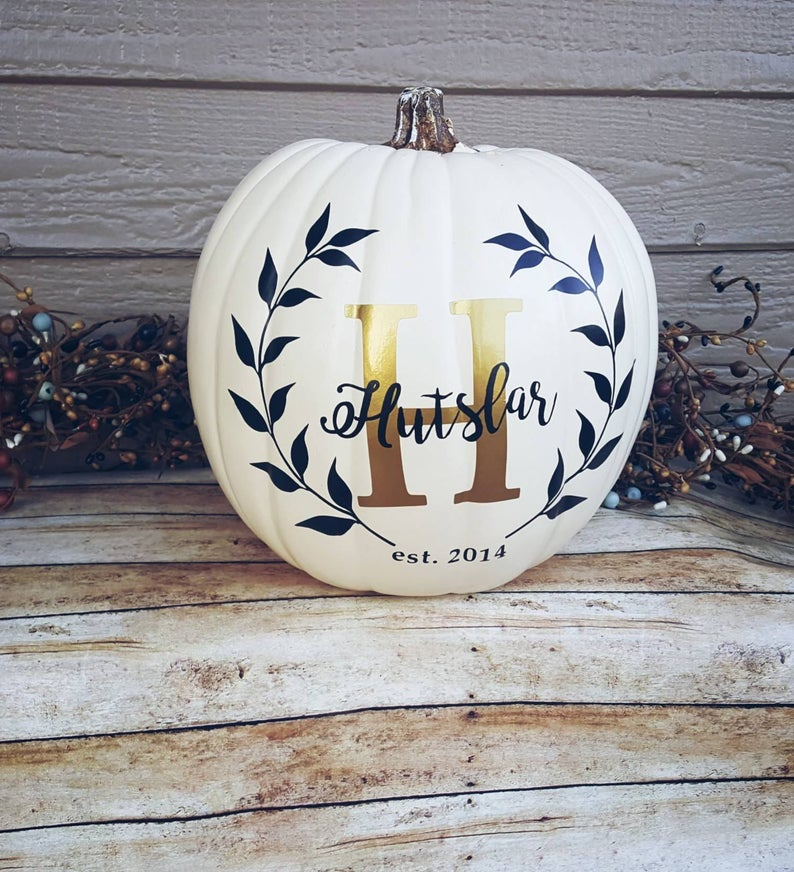 Personalized Pumpkin Family Last Name monogram #paintedpumpkinideas