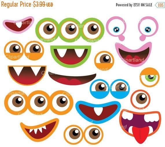 instant download monster eyes and monster mouths clip art cm 11 rh pinterest com monster eyeballs clipart Monster Face Clip Art