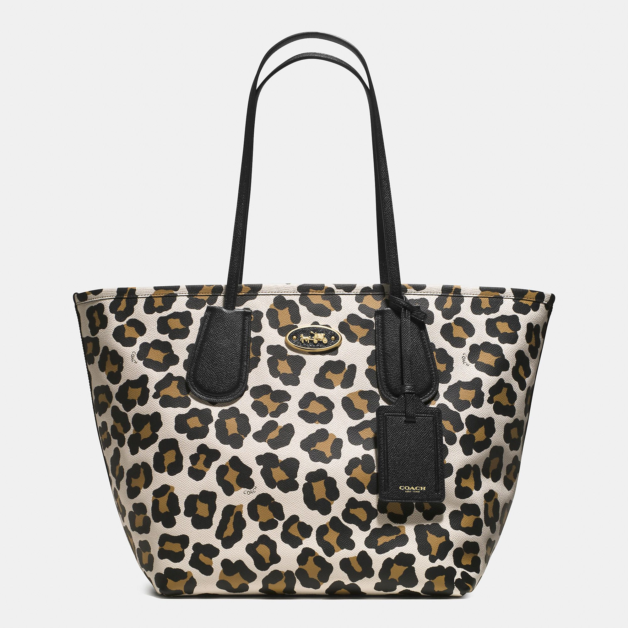 Coach Taxi Tote 28 In Ocelot Print Leather Designer Handbags On