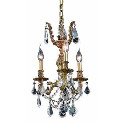 Elegant Lighting Marseille 3 Light Chandelier Finish / Crystal Color / Crystal Trim: