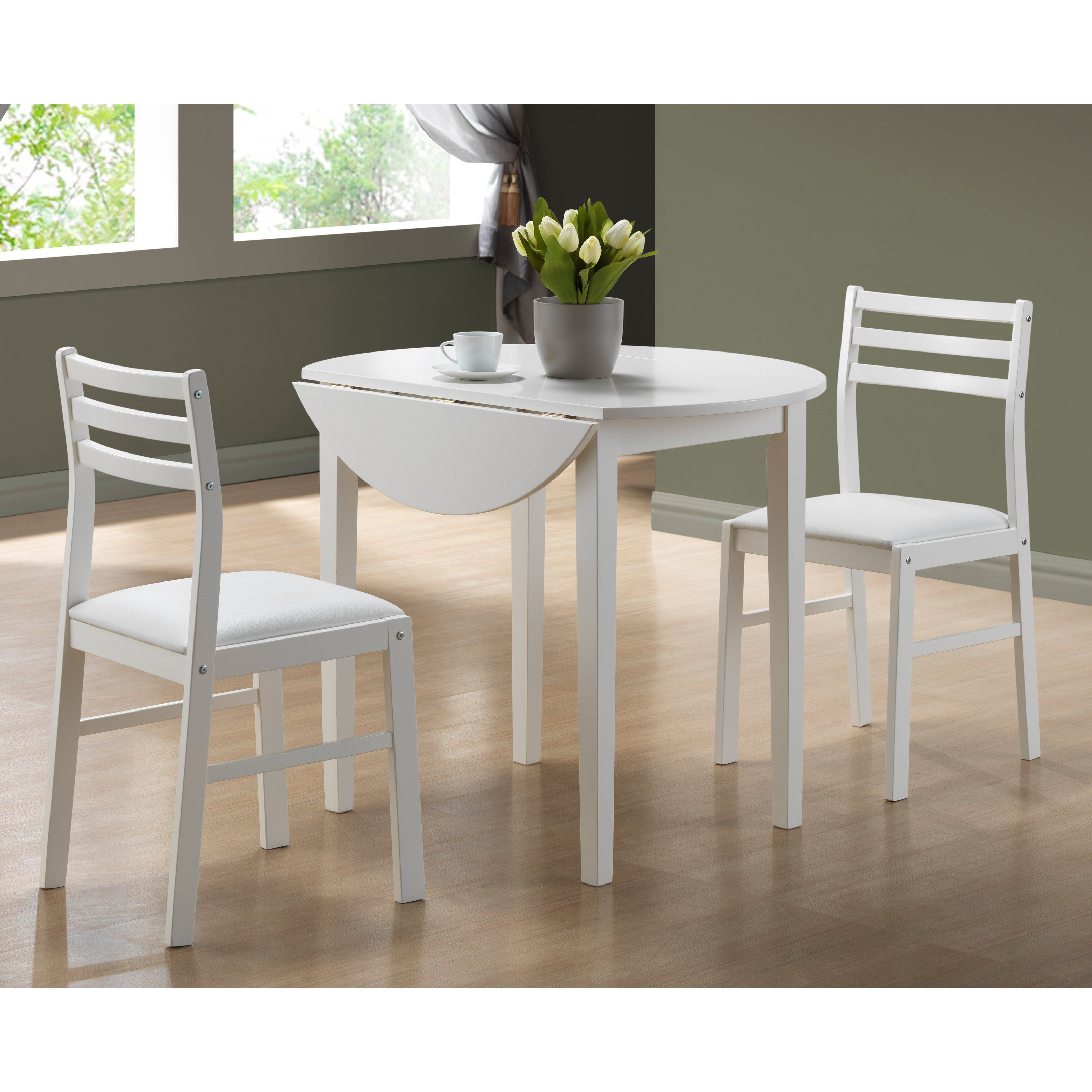 Monarch Specialties Barnwell 3 Piece Round Dining Table Set With