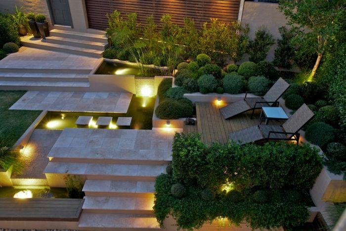 Moderner Garten gartengestaltung moderner garten tolle beleuchtung pflanzen