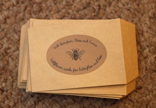 TNWC Real Brides Emmas Been Making Pretty Labels For Her Wildflower Seed Wedding Favours