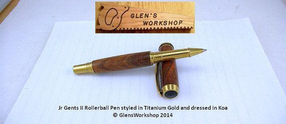 Rollerball Pen Handmade Gold and Black Titanium by GlensWorkshop