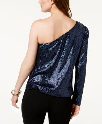 cdc25d2232a8aa Rachel Zoe Ira Sequined One-Shoulder Top - Blue 12