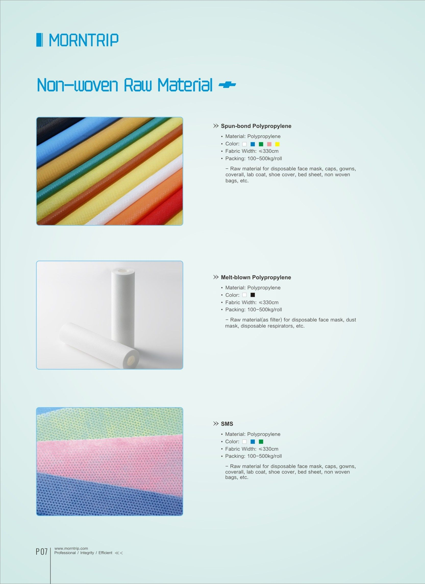 Catalog Page 7 Besides Finished Nonwoven Products We Also
