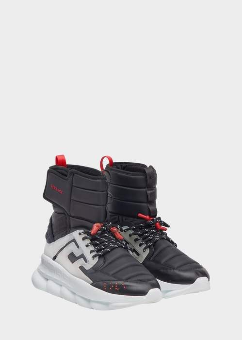 ac54b6fe6fcb1 Versace Black Chain Reaction Sneaker Boots