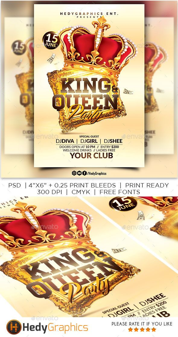 King and Queen Party Queens, Flyer template and Template - labour day flyer template