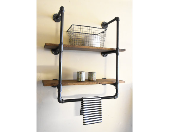 Bathroom Industrial Wall Unit 24 Wide With Two Shelves And Towel Holder Floating S Industrial Floating Shelves Floating Shelf Decor Floating Shelves Bathroom