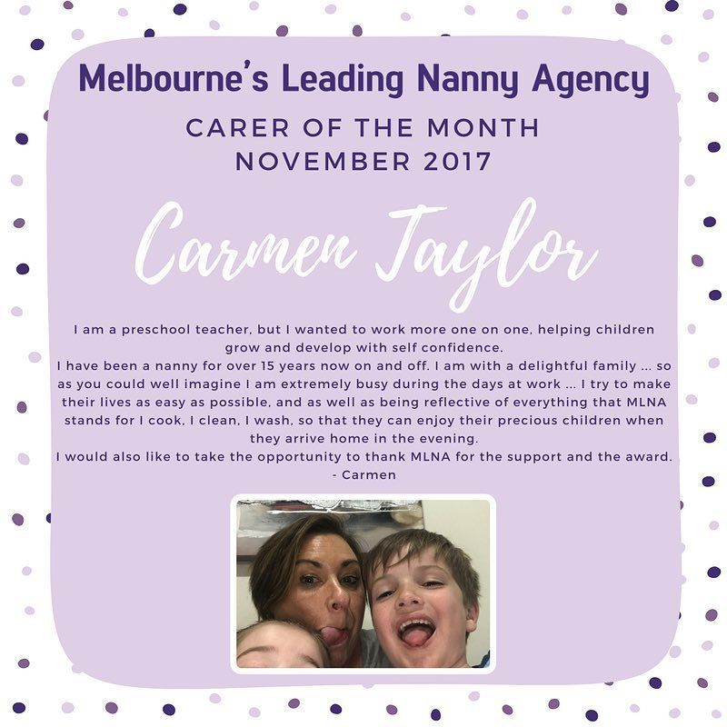 Congratulations to our carer of the month Carmen! Thank-you for - nanny skills resume