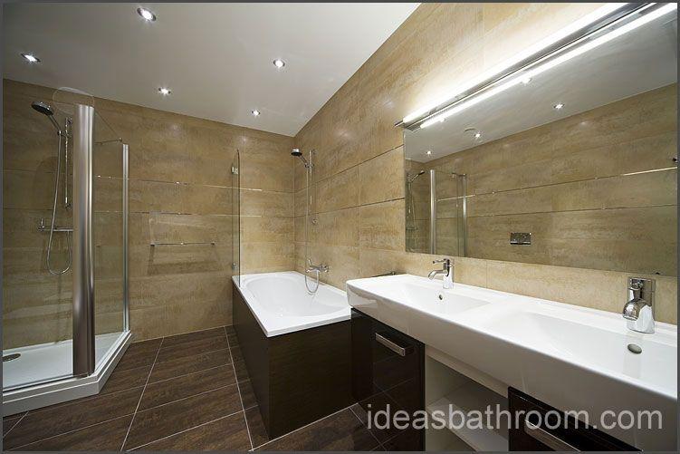tile walls, wood tub surround, big mirror | Bathroom ideas ...