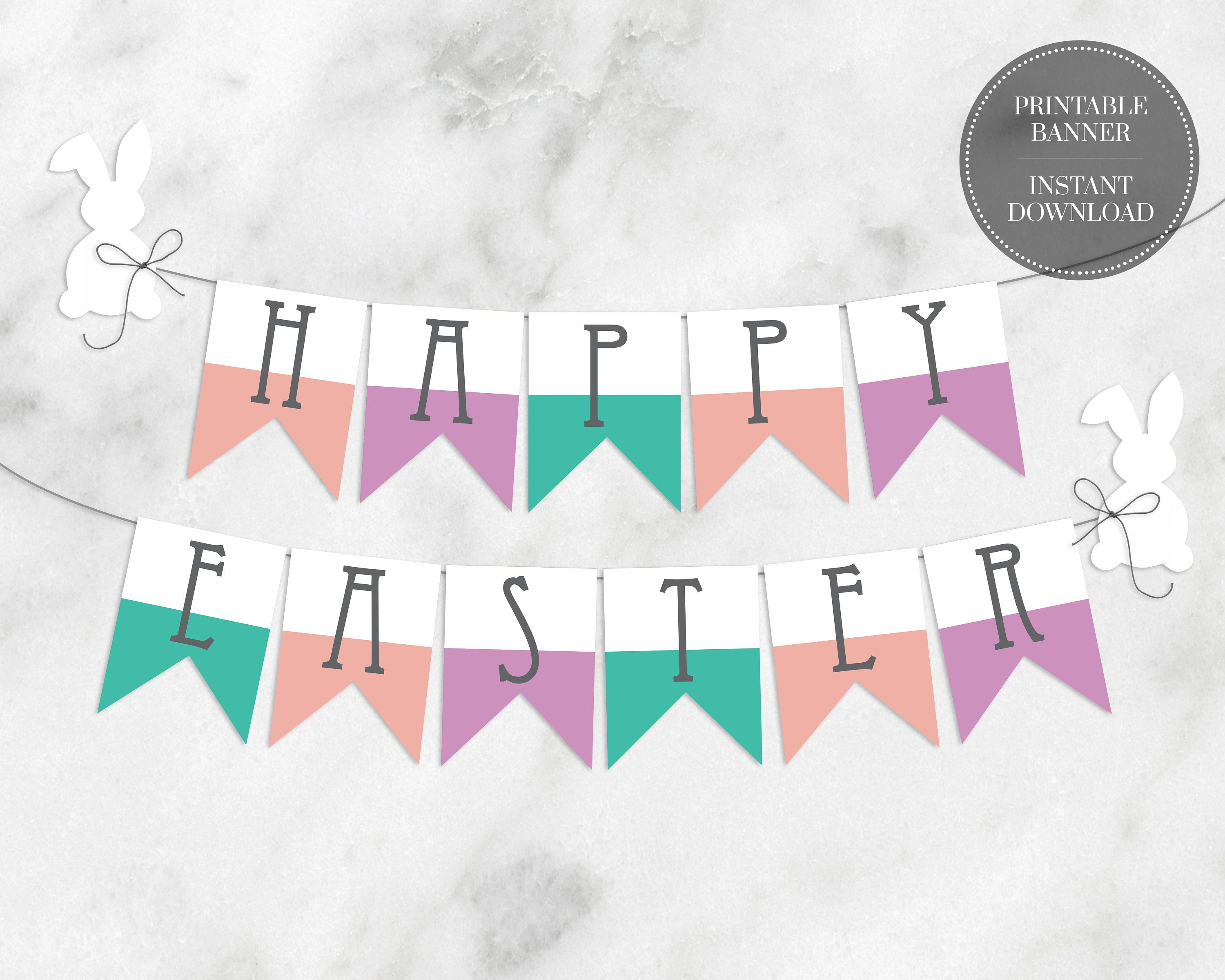 Printable Banner Letters Instant Download Digital Modern Alphabet