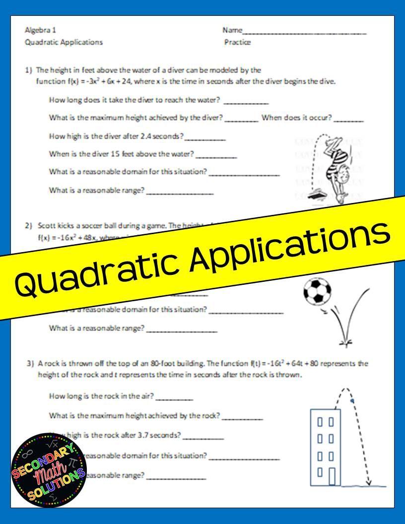 Quadratic Applications Notes Practice With Images Quadratics