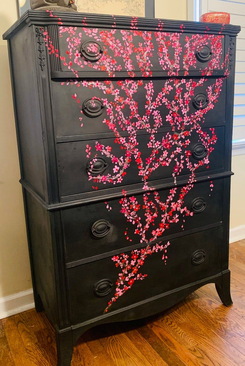 Beautiful Vintage Highboy Black Chalk Painted Dresser For Bedroom