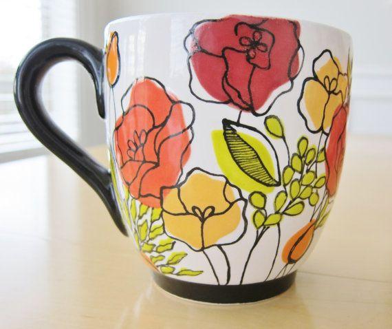 Items Similar To Mod Blossom Mug On Etsy Pottery Painting