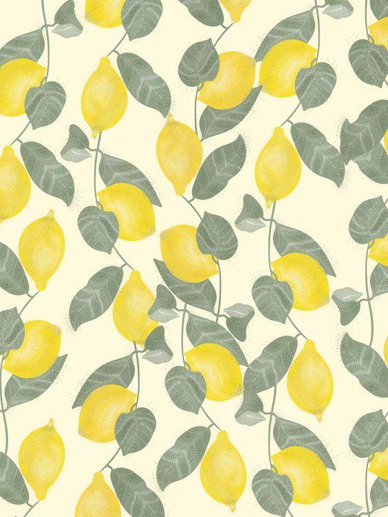 Pattern Motif Citron Et Feuille Papier Peint Jaune Citron