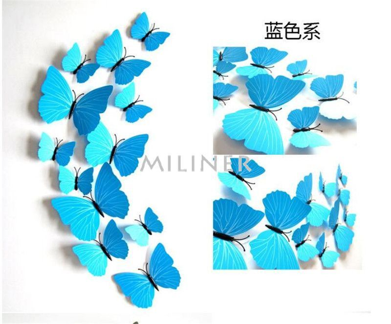 Buy Free shipping 12pcs PVC 3d Butterfly wall decor cute Butterflies