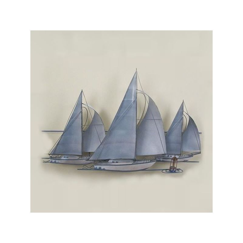 Three Sailboats Wall Sculpture Nautical Metal Wall Art Boat Wall Art Nautical Wall Art