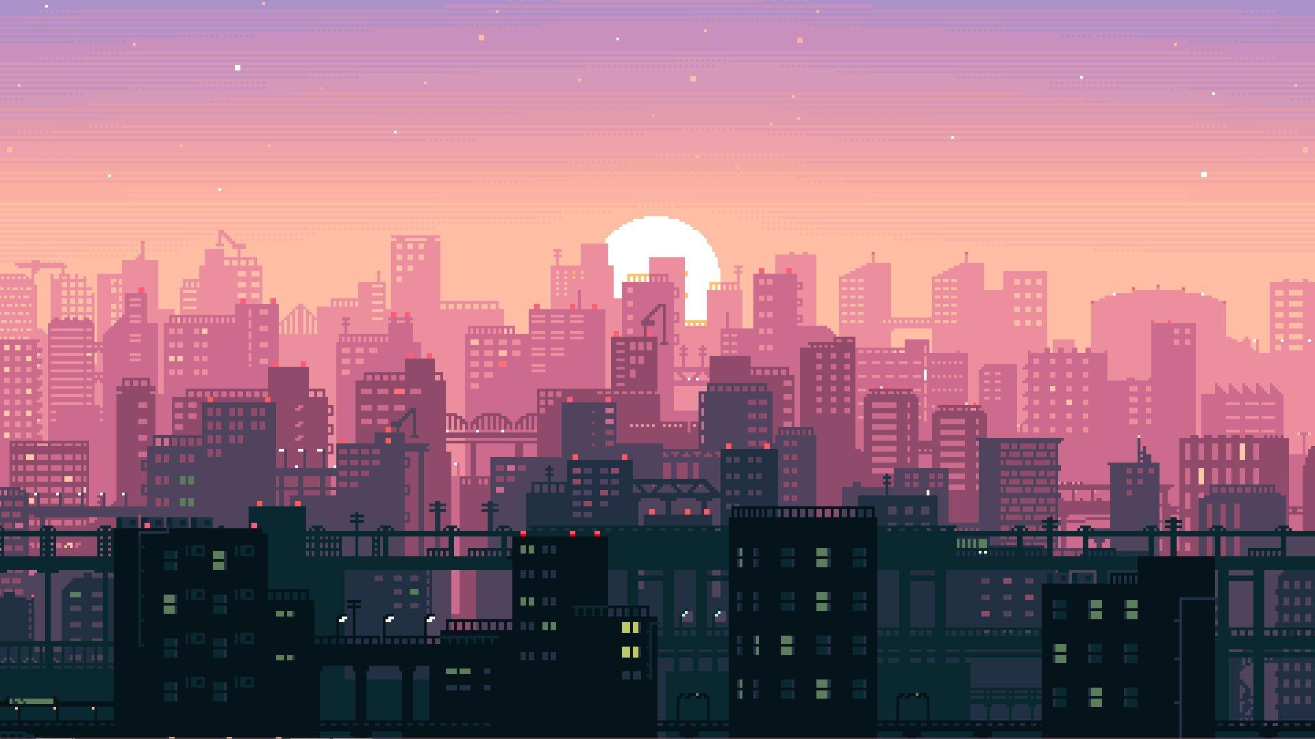 Buildings Illustration Animated Pink And Black Buildings Illustration Pixel Art Sun Building Imagens Para Pc Papel De Parede Do Notebook Papel De Parede Pc