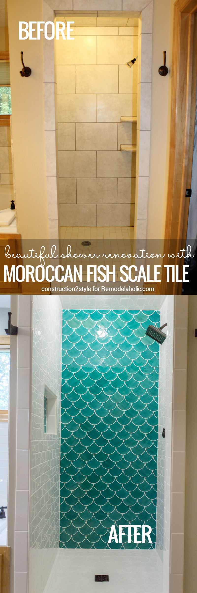 Moroccan Fish Scale Tile Shower Renovation @Remodelaholic | DIY Home ...