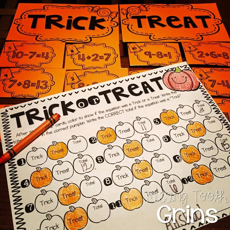 My Students Love This Halloween Game Called Trick Or Treat Where They Have To Sort The True Equations From The False Equati Math Centers Math First Grade Math [ 960 x 960 Pixel ]