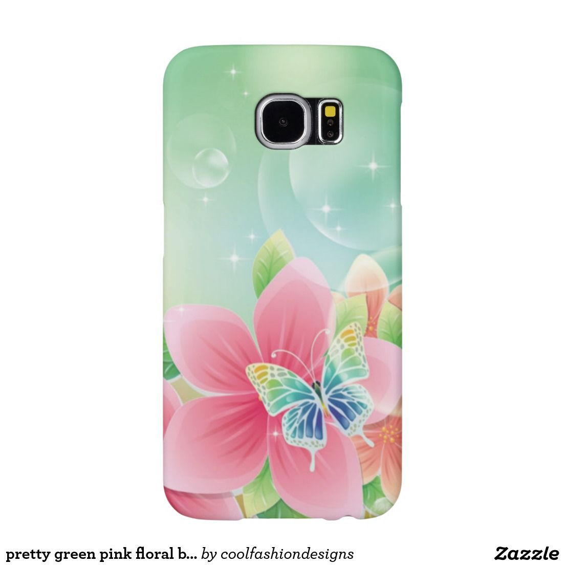 pretty green pink floral butterfly case
