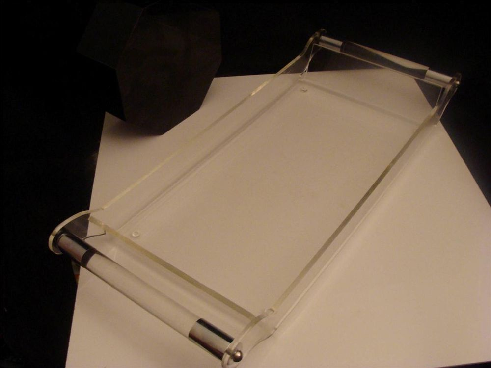 Stunning Vintage Mid Century Lucite Acrylic Serving Tray  Chrome On Handles