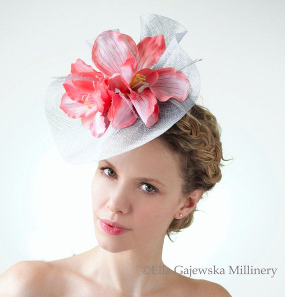 SALE Cornflower Blue Headpiece Bright Blue Fascinator Hatinator Statement  Light Weight Hat Hair Accessory Pink Flowers Wedding Ella Gajewska f72e5698ad55