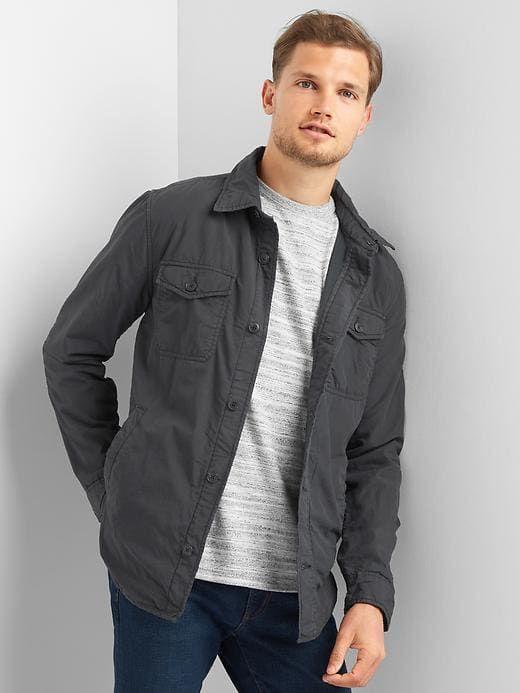 Gap Mens Fleece Lined Shirt Jacket Moonless Night Top