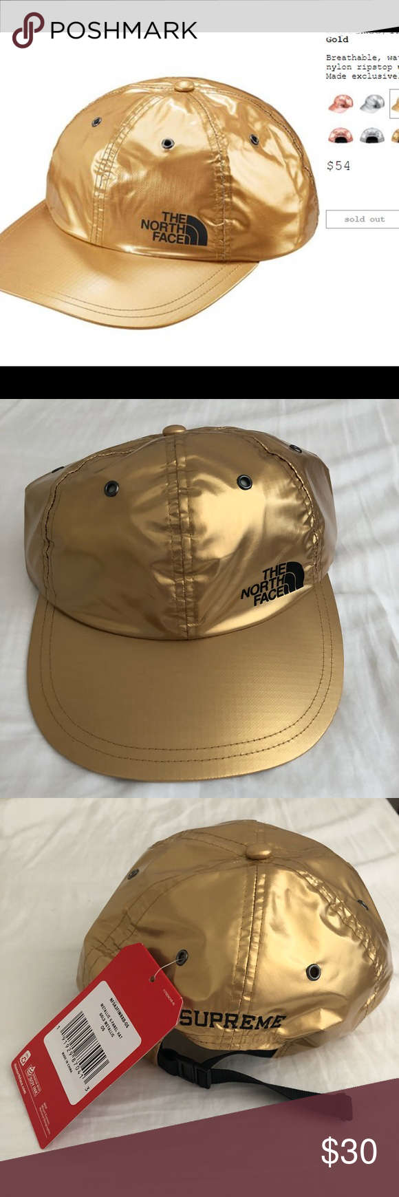 891bba011 NWT Supreme North Face Gold Metallic Six Panel Hat Brand New never ...